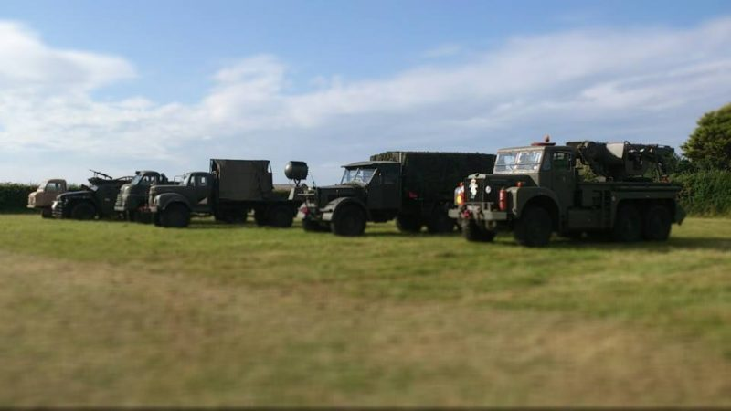 Military vehicles stand gaurd..